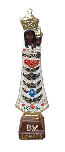 Eurofusioni Estatua Blanca Nuestra Señora de Loreto Pintada a Mano - Virgen Negra con Niño - H 14 cm