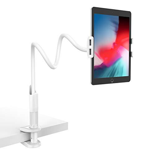 Lamicall Schwanenhals Tablet Halter, Tablet Halterung : Lazy Flexible Einstellbare Lang Arm Ständer für Pad Mini 2 3 4, Neu Pad Pro 2019, Pad Air, Phone, und Weitere 4,7-10,5 Zoll Tablets - Weiß -