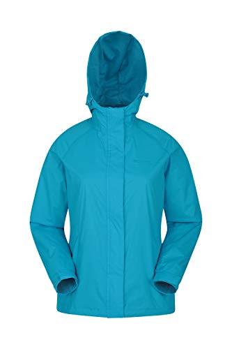 Mountain Warehouse Torrent Jacke für Damen - Wasserfeste Regenjacke, Leichter Mantel, versiegelte Nähte, Damenjacke mit Taschen - Ideal für Reisen, Camping Türkis DE 40 (EU 42)
