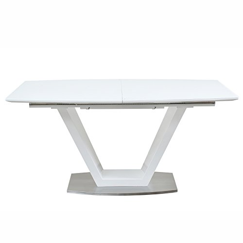 Design Esstisch SPARKLE 160-220 cm Hochglanz weiß ausziehbar Opalglas Edelstahl gebürstet