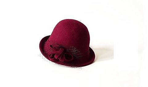 Llxln Weibliche Wolle Winter Hut Dome Kleine Mütze Damen Hut Farbe Weinrot