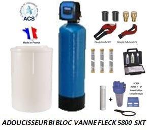 Adoucisseur d'eau bi bloc 20L fleck 5800 SXT complet