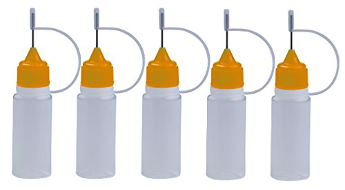 5 Stück Nadelflaschen mit ORANGE Nadelkappe- SmokerFuchs® Nadelcap - Leerflasche je 10 ml zum befüllen und mischen von Liquid