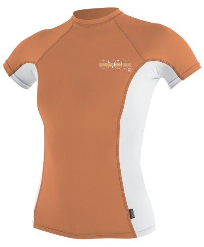 O 'Neill Neoprenanzug UV Sun Schutz Damen Skins Short Sleeve Crew Sun-Shirt Rash Guard, damen, Sorbet/White (Neoprenanzüge Rash Guard Crew Skins)
