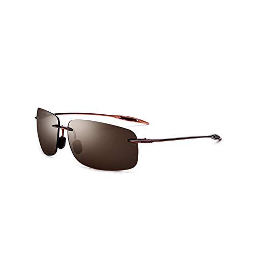 Vikimen Sportbrillen, Angeln Golfbrille,Ultem TR90 Rimless Sunglasses Men Ultralight NEW High Quality Square Frameless Sun Glasses For Women Brand Designer Nylon Lens tea