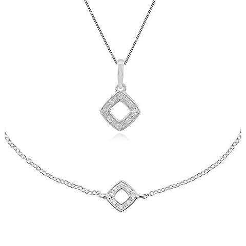 Gemondo 9ct Weiß Gold Nasenstecker Diamant 45cm Halskette und 19cm Armband Set (0,03 Ct Diamant-set)