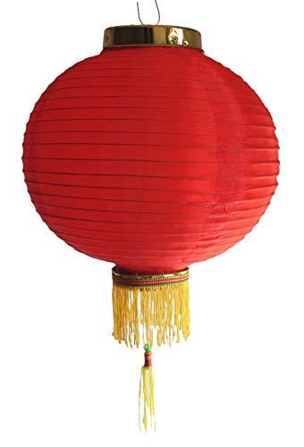 AAF Nommel ® Lampion 1 Stk. Nylonstoff rot rund Ø 30 cm, asiatisch traditionell, Nr. 130 - Chinesische Lampe