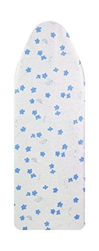Saphare Bügelbrettbezug, Blumen-Druck angereichert mit Aluminium und Teflon 100% Baumwolle, gepolstert mit Schaum + Filz (Blau)
