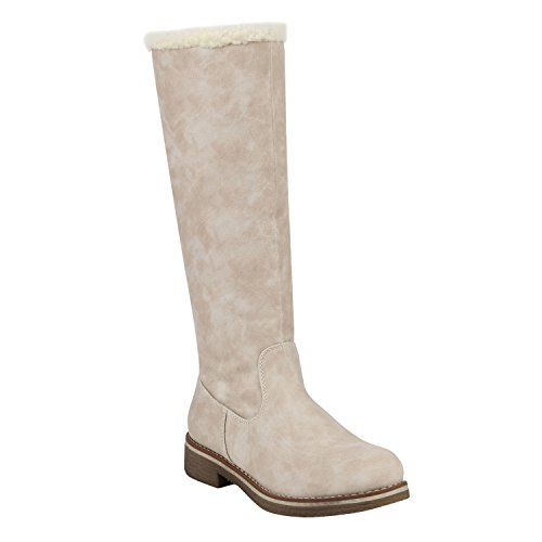 Stiefelparadies Gefütterte Damen Winterstiefel Schnallen Profil Sohle Stiefel 152499 Creme Agueda 37 Flandell