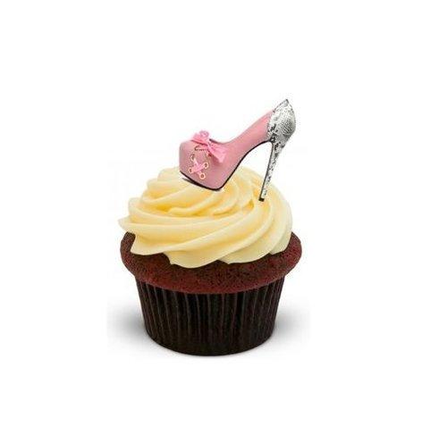 Chaussures pour femme Rose rouge Argenté 12 cupcakes comestibles en gaufrette en support pour décoration de gâteaux