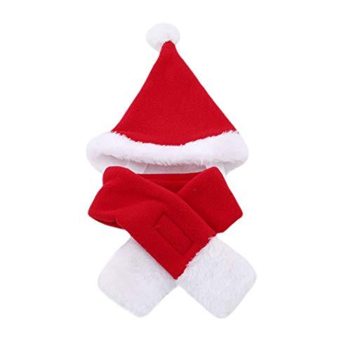 DeliV Weihnachtsmütze Schal Set Hunde Welpen Neujahr Mütze mit Schal für Hunde Urlaub Zubehör Neujahr Verkleidung Party Hund Kostüm Hut