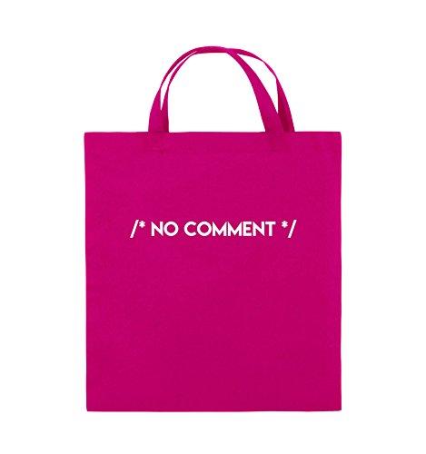 Borse Da Commedia - Nessun Commento - Borsa Di Juta - Manico Corto - 38x42cm - Colore: Nero / Rosa Rosa / Bianco
