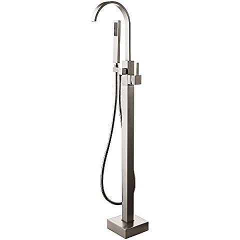 jiuzhuo supporto da pavimento per vasca da bagno rubinetto miscelatore per vasca da bagno, doccia, nichel spazzolato