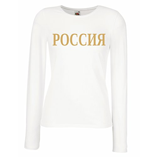 Weibliche langen Ärmeln T-Shirt Rossiq - Russland Moskau, русский, russischen politischen Design Weiß Gold