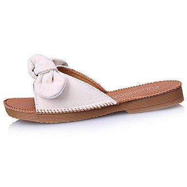 zhENfu Donna sandali di gomma Comfort estate passeggiate allaperto Comfort Bowknot tacco piatto Giallo Beige sotto nero 1in Beige