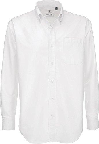 B & C Oxford Smart Lange Ärmel Herren Klassische ausgestattet Formale Shirt Erwachsene Workwear Gr. xxxxxl, Weiß - Weiß (Klassische Shirt Ausgestattet Formale)