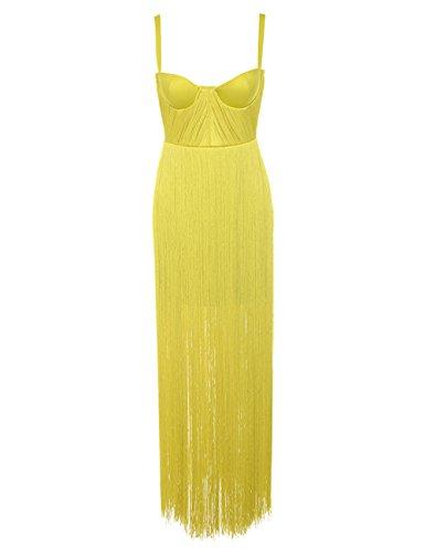 Whoinshop Damen Strappy Bleistiftkleid Stain Partykleid Bodycon Figurbetontes Kleid mit Fringe Gelb M Fringe Kleid