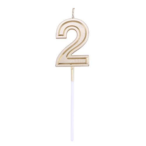 Toyvian Gold Glitter Happy Birthday Ziffer Kerzen Anzahl Kerzen Cake Topper Dekoration für Erwachsene Kinder Party (Nummer 2) (Kuchen Kerze Topper Nummer 2)
