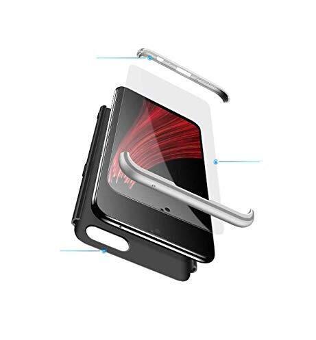 Xinglong Compatible mit Oppo F3 Plus Hülle,3 in 1 Handyhülle Hardcase 360 Grad Schutzhülle Ganzkörper Schützend Ultra Dünner PC Tasche Etui Cover Fullbody Backcover Bumper,Silber Schwarz