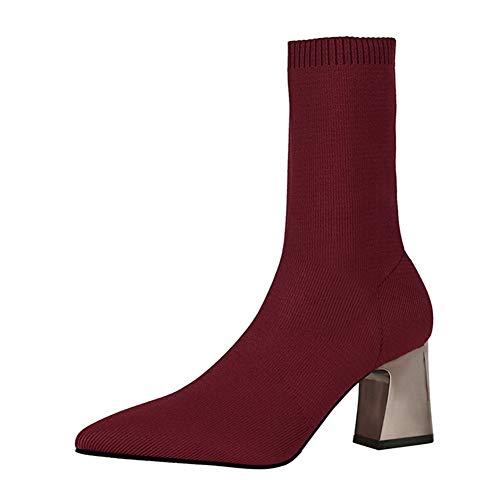 Frauen Elastische Socken Stiefel Herbst Slip-On Stricken Stretch Stiefel Baumwollgewebe Dame Mitte Der Wade Boot Socke High Heels Schuhe