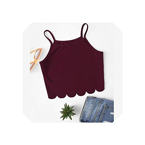 YearningH Summer Red Top Weste Frau Urlaub Gelegenheits Scallop Hem Ernte, Maroon, M -