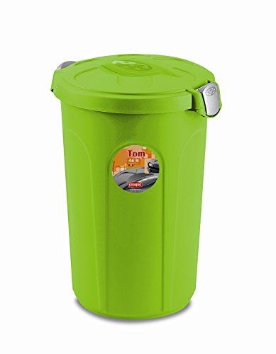 Kreher XL Tierfuttertonne, Futtertonne aus lebensmittelechtem Kunststoff (PP) mit Fassungsvermögen von ca. 46 Liter. Formschön, in Grün. Maße BxTxH in cm: 44,5 x 40 x 61 cm
