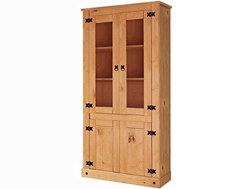 Loft24 Vitrine Landhaus Vitrinenschrank Standvitrine Glasvitrine Glasschrank Esszimmer Küche Kiefer massiv gebeizt geölt