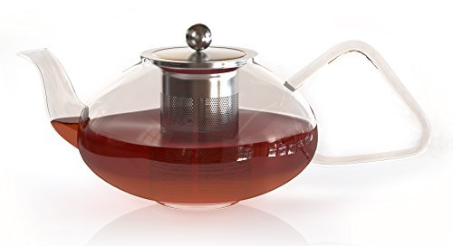 Pontique 40 oz Clear Pyrex Glass Teapot with Stainless Steel Infuser and Perfect Shape Handle for Sturdy Grip. High Quality, Gas Stove Safe by Pontique Steel Infuser