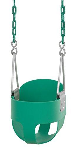 Swingan High Back Full Bucket Kleinkind & Baby Swing mit Vinyl beschichtet Kette (fertig montiert), SWBSC-GN, grün -