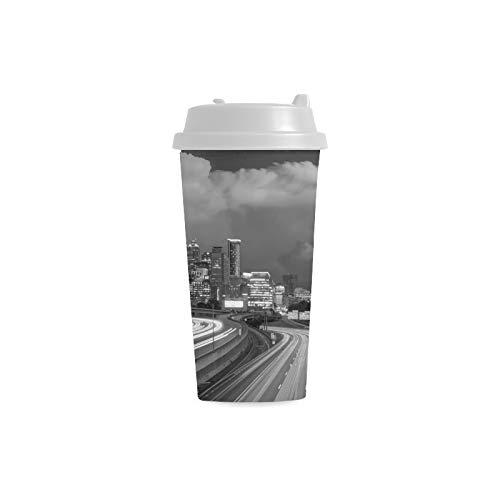Stadtstraße Landschaft Schwarz Benutzerdefinierte 16 Unzen Doppelwandige Kunststoff Isoliert Sport Wasserflasche Tassen Pendler Reise Kaffeetassen Für Studenten Frauen Milch Teetasse Trinken