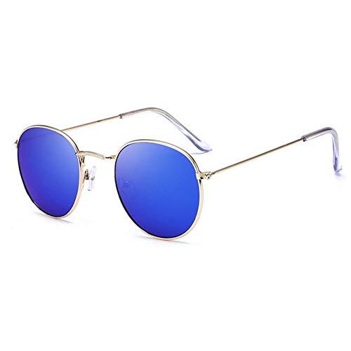 Sonnenbrille Retro Runde Sonnenbrille Frauen Männer Designer Sonnenbrillen Für Frauen Legierung Spiegel Sonnenbrille Kleine Gesicht Frauen Gold Blau