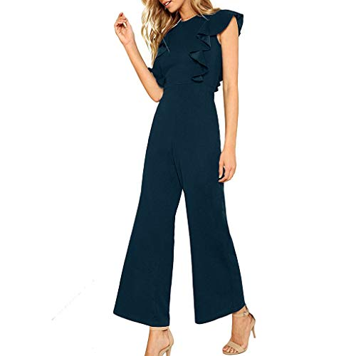 Damen Breites Bein Rüsche Jumpsuit Yogogo O-Ausschnitt Einfarbig Overall Hose Sommer Bodycon Lange Strampler Bodysuit Slim Fit Playsuits Flare Pants Sexy Sport Fitness Workout Leggins Dünne Sporthose -