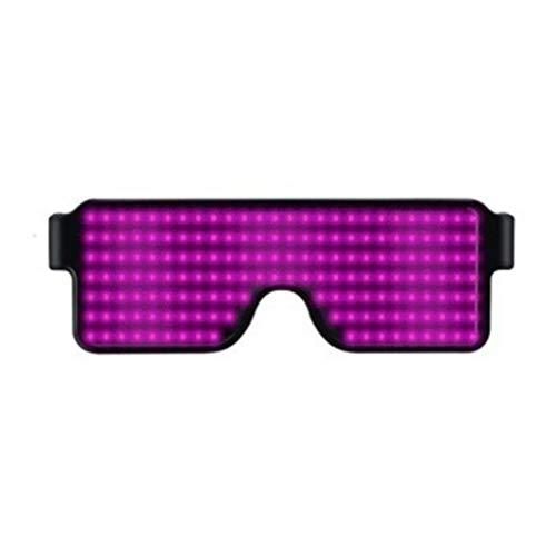 Yangge Yujum Frauen Männer Cosplay-Kostüm-Partei LED Brille Mädchen-Jungen-Club Bar Pub dekorative USB-LED-Brille Party Gläser USB-Anschluss Wiederaufladbare,Pinkes Licht,158 * 53,3 * 140 - Einfache Kostüm Können Sie Tragen Zu Arbeiten