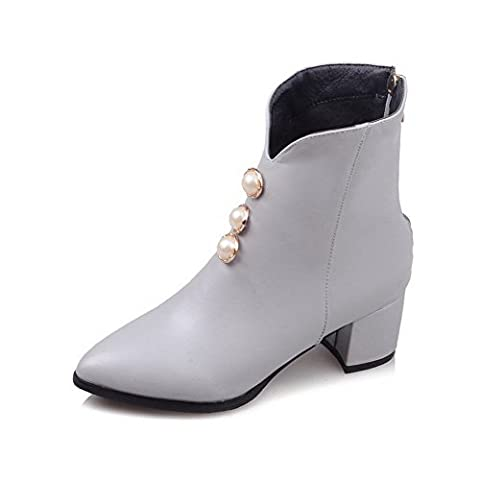 VogueZone009 Women's Solid Kitten-Heels Pointed Closed Toe PU Zipper Boots, Gray, 36