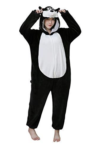 URVIP Neu Unisex Adult Pyjama Cosplay Tier Onesie Body Nachtwäsche Kleid Overall Animal Sleepwear Schlafanzug mit Kapuze Erwachsene Cosplay Kostüm Schwarz-Hund - Freddy Krueger Weibliche Kostüm