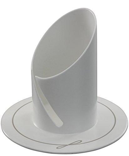 Motivationsgeschenke Kerzenhalter weiß elegant lackiert Ø 9 cm, für Kerzen Ø 4 cm Taufe Kommunion (Gravur Messing-teller)