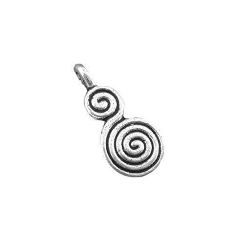 10 x Antique Silver Tibetan 17mm Charms Pendants (Celtic Swirl Pagan) - (ZX03350) - Charming Beads