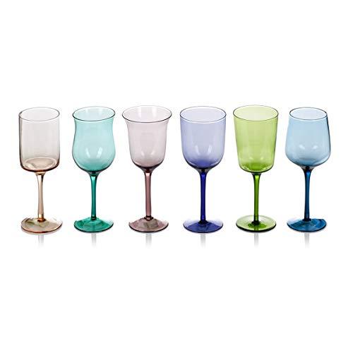 IMPRESSIONEN living Weingläser Bunt - 6er Set - Farbiges Glas - 350 ml