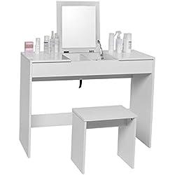 WOLTU MB6047ws Coiffeuse Table de Maquillage avec Miroir Pliable Dessus de Table Brillant avec Tabouret, 100 x 45 x 76cm, Blanc