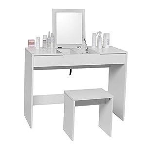 WOLTU Schminktisch Kosmetiktisch mit Hocker und klappbar Spiegel, Hochglanz Tischplatte,Schreibtisch Frisierkommode, 100…