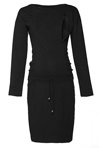 HAPPY MAMA. Femme Robe Sweat-Shirt Allaitement Maternité Manche Longue. 709p (Noir, 44, XL)