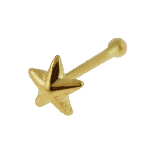 9K Gelb Gold Plain 3D Star 22 Gauge Nase Knochen Nase Stud Piercing (Nose Gold Star Stud)