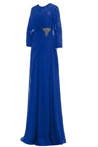 Sunvary guaina Scoop maniche a 3/4 da donna in simil Chiffon con perline, con scritta Mother of the Brides vestiti Royal Blue