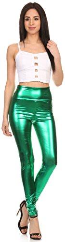 Sakkas Jambières Stretch Taille Haute Finition Brillante Métallique Liquide - Fabriqué aux États Unis Vert