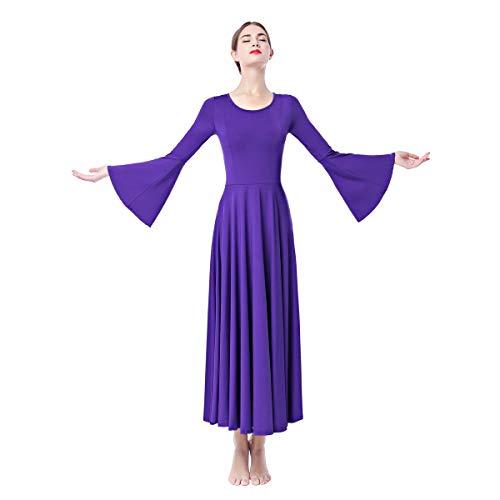 OBEEII Damen Liturgisch Tanzkleid Lange Ärmel Elastisch Tanzstrumpfhose Frauen Elegant Kirche Worship Tanzkleidung Ballett Jazz Lateinischer Tanz Kirche Chor Beten Gebet Kostüm Violett M