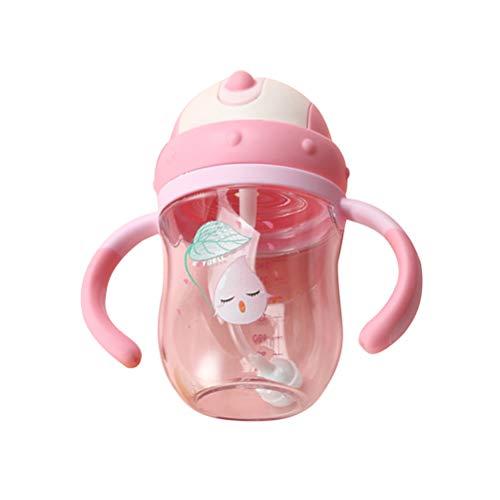 YeahiBaby Biberon 2 poignées Biberon avec Paille Douce Aucun déversement Non Infiltration Bébé Infantile Bouteille Bouteille d'allaitement pour Baby Shower Party Favors Cadeaux (Rose) 240ml