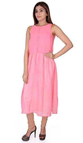 Jugend Pink A-Line Chiffon Round Neck Sleevless Plain Designer Kurtis For Women and Girls