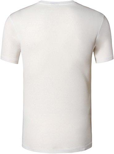 Jeansian Uomo Asciugatura Rapida Sportivo Casuale Slim Sports Fashion Tee T-Shirts Camicie LSL1059 LSL132_White