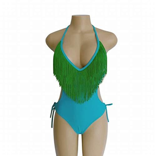 GG.S Vintage V-Ausschnitt Bikini Set Beach Bademode Fringe Bademode (Color : Green, Size : S) (Fringe Bikini Green)