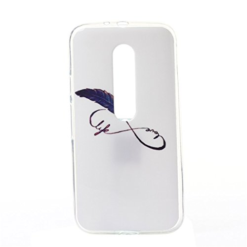 Weiche Hülle für Motorola Moto G3, Modisch Rück Abdeckung Schutzhülle Tasche Case Cover Handytasche Rückseite Tasche Back Cover Handyhülle für Motorola Moto G3 - 8 Wort Feder (Minion Worte)